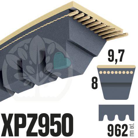 Courroie Trapézoïdale Crantée XPZ950. 9,7mm x 962mm ext.