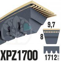 Courroie Trapézoïdale Crantée XPZ1700. 9,7mm x 1712mm ext.