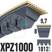Courroie Trapézoïdale Crantée XPZ1000. 9,7mm x 1012mm ext.