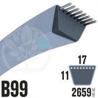 Courroie TrapézoÏdale B99 Néoprène. 17mm x 2659mm