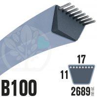 Courroie TrapézoÏdale B100 Néoprène. 17mm x 2689mm