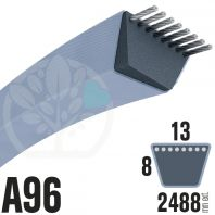 Courroie Trapézoïdale A96 Néoprène. 13mm x 2488mm