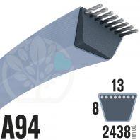 Courroie Trapézoïdale A94 Néoprène. 13mm x 2438mm