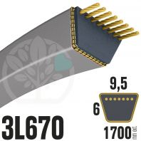 Courroie Trapézoïdale 3L670 Renforcée Kevlar. 9.5mm x 1700mm
