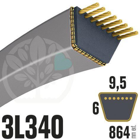 Courroie Trapézoïdale 3L340 Renforcée Kevlar. 9.5mm x 864 mm