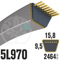 Courroie Trapézoïdale 5L970 Renforcée Kevlar. 15.8mm x 2464mm