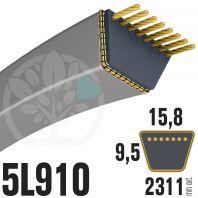 Courroie Trapézoïdale 5L910 Renforcée Kevlar. 15.8mm x 2311mm