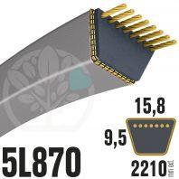 Courroie Trapézoïdale 5L870 Renforcée Kevlar. 15.8mm x 2210mm