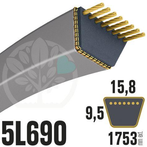 Courroie Trapézoïdale 5L690 Renforcée Kevlar. 15.8mm x 1753mm
