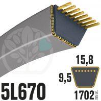 Courroie Trapézoïdale 5L670 Renforcée Kevlar. 15.8mm x 1702mm