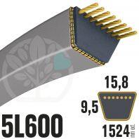 Courroie Trapézoïdale 5L600 Renforcée Kevlar. 15.8mm x 1524mm