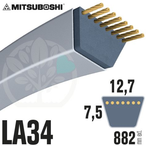 Courroie Mitsuboshi LA34 Renforcée.  12,7mm x 882mm
