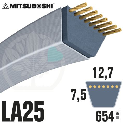Courroie Mitsuboshi LA25 Renforcée.  12,7mm x 654mm