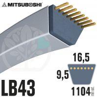 Courroie Mitsuboshi LB43 Renforcée.  16.5mm x 1104mm