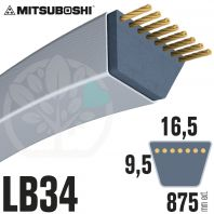 Courroie Mitsuboshi LB34 Renforcée.  16.5mm x 875mm