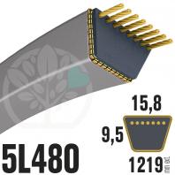 Courroie Trapézoïdale 5L480 Renforcé Kevlar. 15.8mm x 1219mm