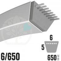 Courroie Trapézoïdale 6/650. 6mm x 650mm