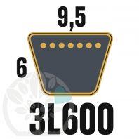 Courroie Trapézoïdale 3L600 Renforcée Kevlar. 9.5mm x 1524mm