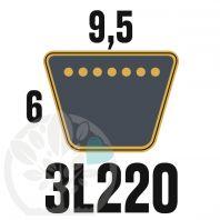 Courroie Trapézoïdale 3L220 Renforcée Kevlar. 9.5mm x 559mm