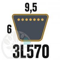 Courroie Trapézoïdale 3L570 Renforcée Kevlar. 9.5mm x 1448mm