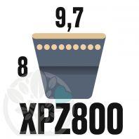 Courroie Trapézoïdale Crantée XPZ800. 9,7mm x 812mm ext.