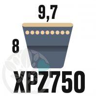 Courroie Trapézoïdale Crantée XPZ750. 9,7mm x 762mm ext.