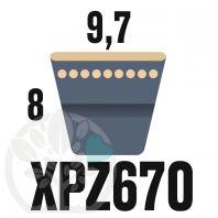 Courroie Trapézoïdale Crantée XPZ670. 9,7mm x 682mm ext.