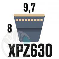 Courroie Trapézoïdale Crantée XPZ630. 9,7mm x 642mm ext.