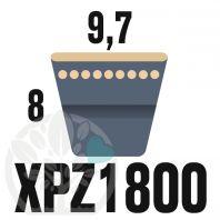 Courroie Trapézoïdale Crantée XPZ1800. 9,7mm x 1812mm ext.
