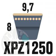 Courroie Trapézoïdale Crantée XPZ1250. 9,7mm x 1262mm ext.