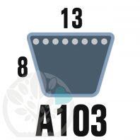 Courroie Trapézoïdale A103 Néoprène. 13mm x 2666mm