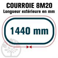 Courroie Simple Denture 1440-8M20 (180 dents). 1440mm x 20mm
