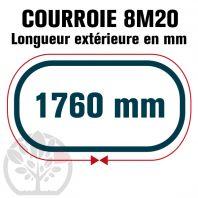 Courroie Simple Denture 1760-8M20 (220 dents). 1760mm x 20mm