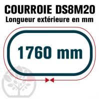 Courroie Double Denture 1760-DS8M20 (220dents)  1760mmx20mm