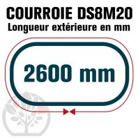 Courroie Double Denture 2600-DS8M20 (325dents) 2600mmx20mm