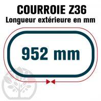 Courroie Trapézoïdale Z36 Néoprène. 10mm x 952mm ext.