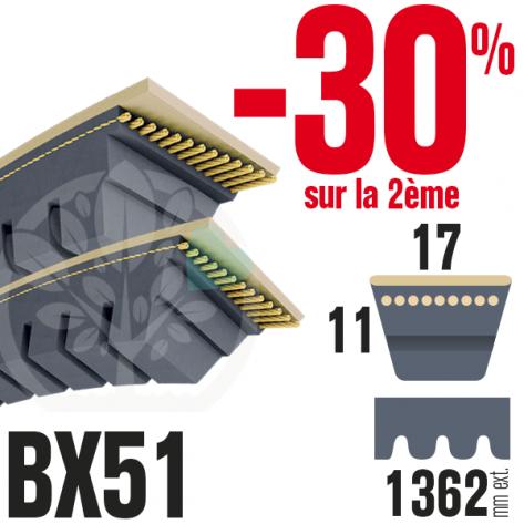 Courroie Trapézoïdale Crantée BX51 Néoprène. 17mm x 1362mm. Par 2.