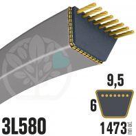 Courroie Trapézoïdale 3L580 Renforcée Kevlar. 9.5mm x 1473mm