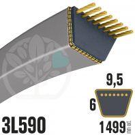 Courroie Trapézoïdale 3L590 Renforcée Kevlar. 9.5mm x 1499mm