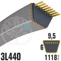 Courroie Trapézoïdale 3L440 Renforcée Kevlar. 9.5mm x 1118mm