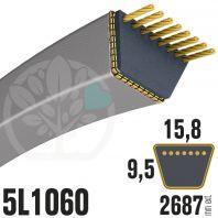 Courroie Trapézoïdale 5L1060 Renforcée Kevlar. 15.8mm x 2687mm