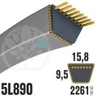 Courroie Trapézoïdale 5L890 Renforcée Kevlar. 15.8mm x 2261mm