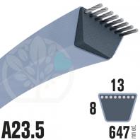 Courroie Trapézoïdale A23,5 Néoprène. 13mm x 647mm