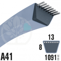 Courroie Trapézoïdale A41 Néoprène. 13mm x 1091mm