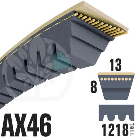 Courroie Trapézoïdale Crantée AX46 Néoprène. 13mm x 1218mm