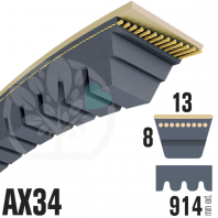 Courroie Trapézoïdale Crantée AX34 Néoprène. 13mm x 914mm