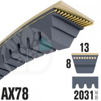 Courroie Trapézoïdale Crantée AX78 Néoprène. 13mm x 2031mm