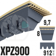Courroie Trapézoïdale Crantée XPZ900. 9,7mm x 912mm ext.