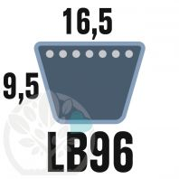 Courroie Mitsuboshi LB96 Renforcée.  16.5mm x 2450mm
