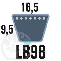 Courroie Mitsuboshi LB98 Renforcée.  16.5mm x 2501mm